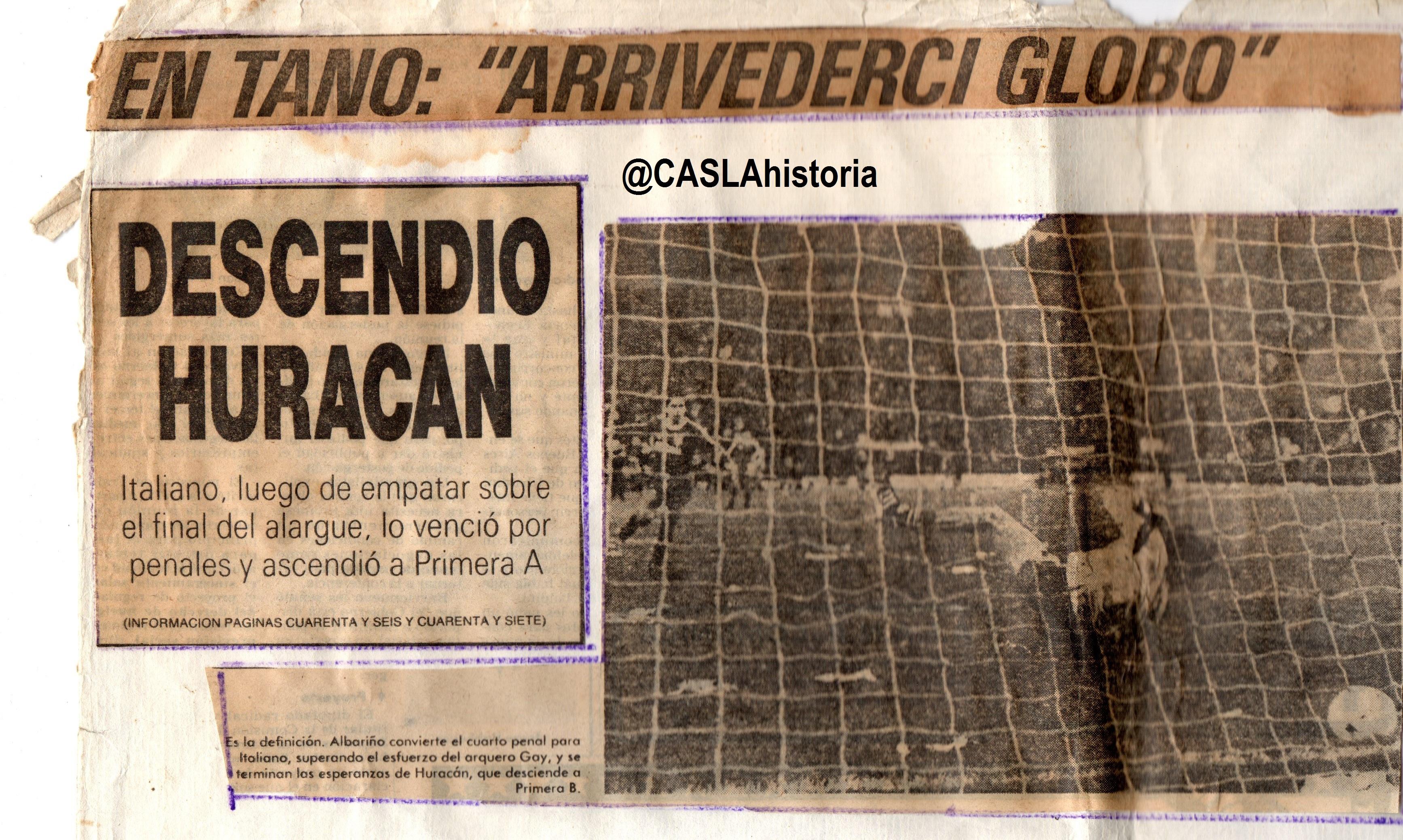 GRACIAS  DEPORTIVO ITALIANO  A 29 AÑOS DE TU ASCENSO