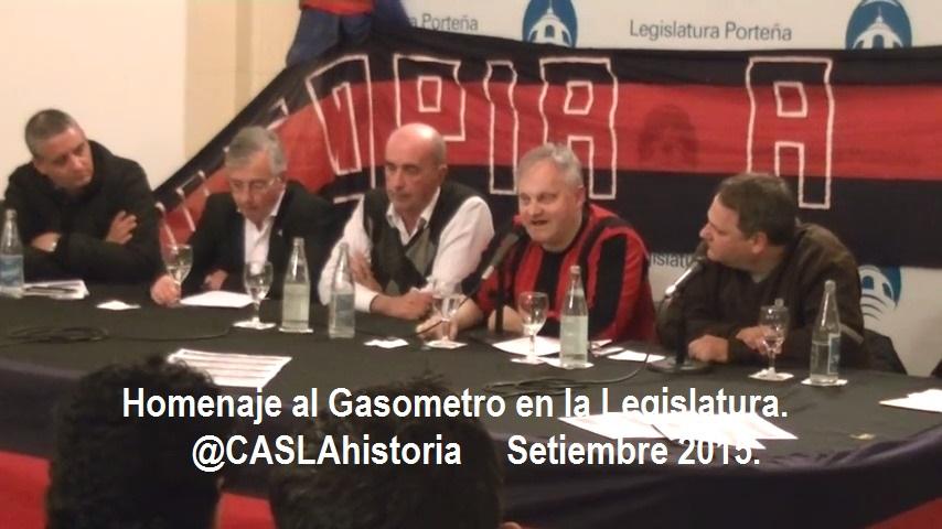 Homenaje al Gasometro en la Legislatura.Setiembre 2015
