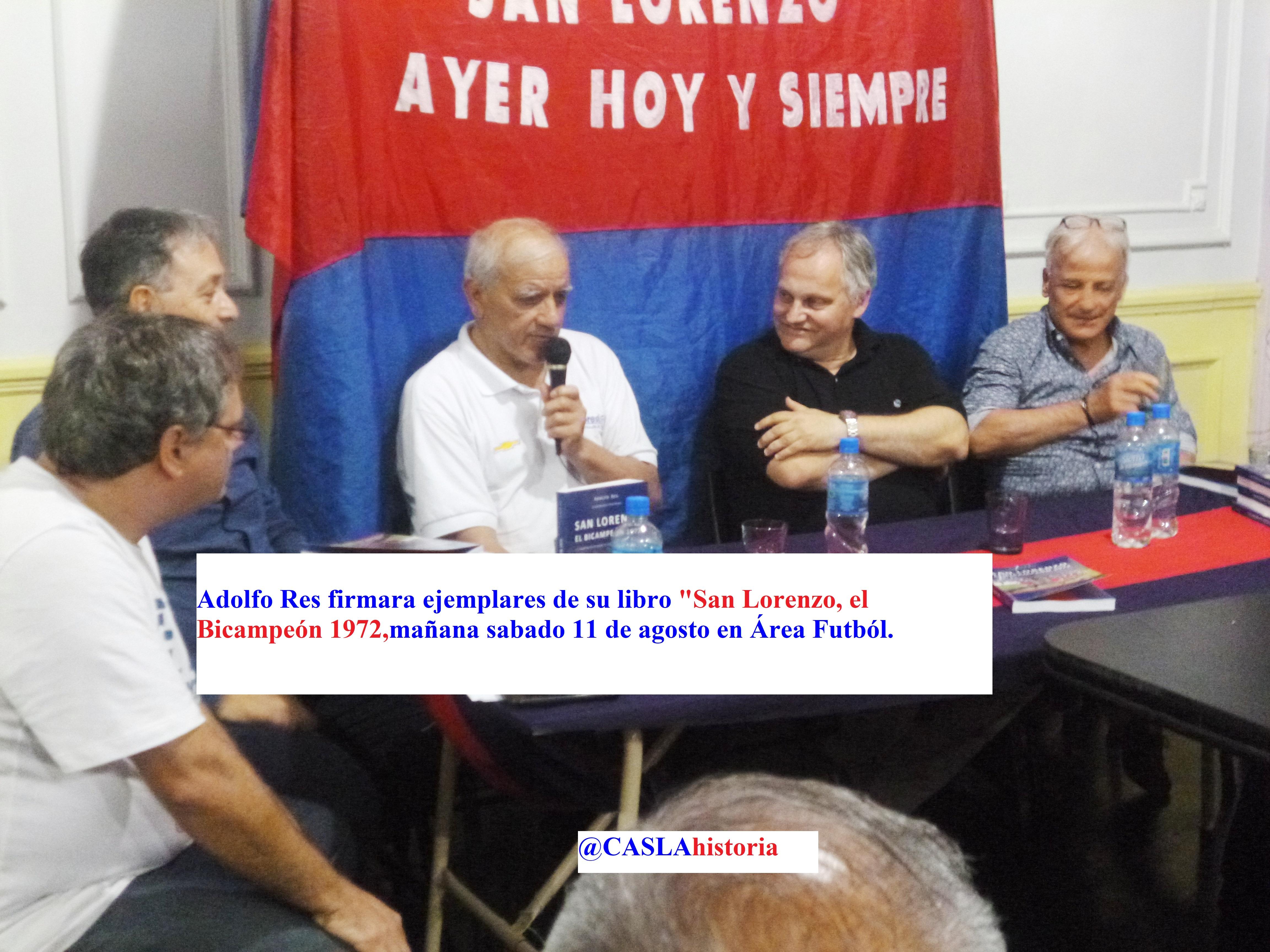 Adolfo firmará ejemplares de «San Lorenzo,el Bicampeón 1972».