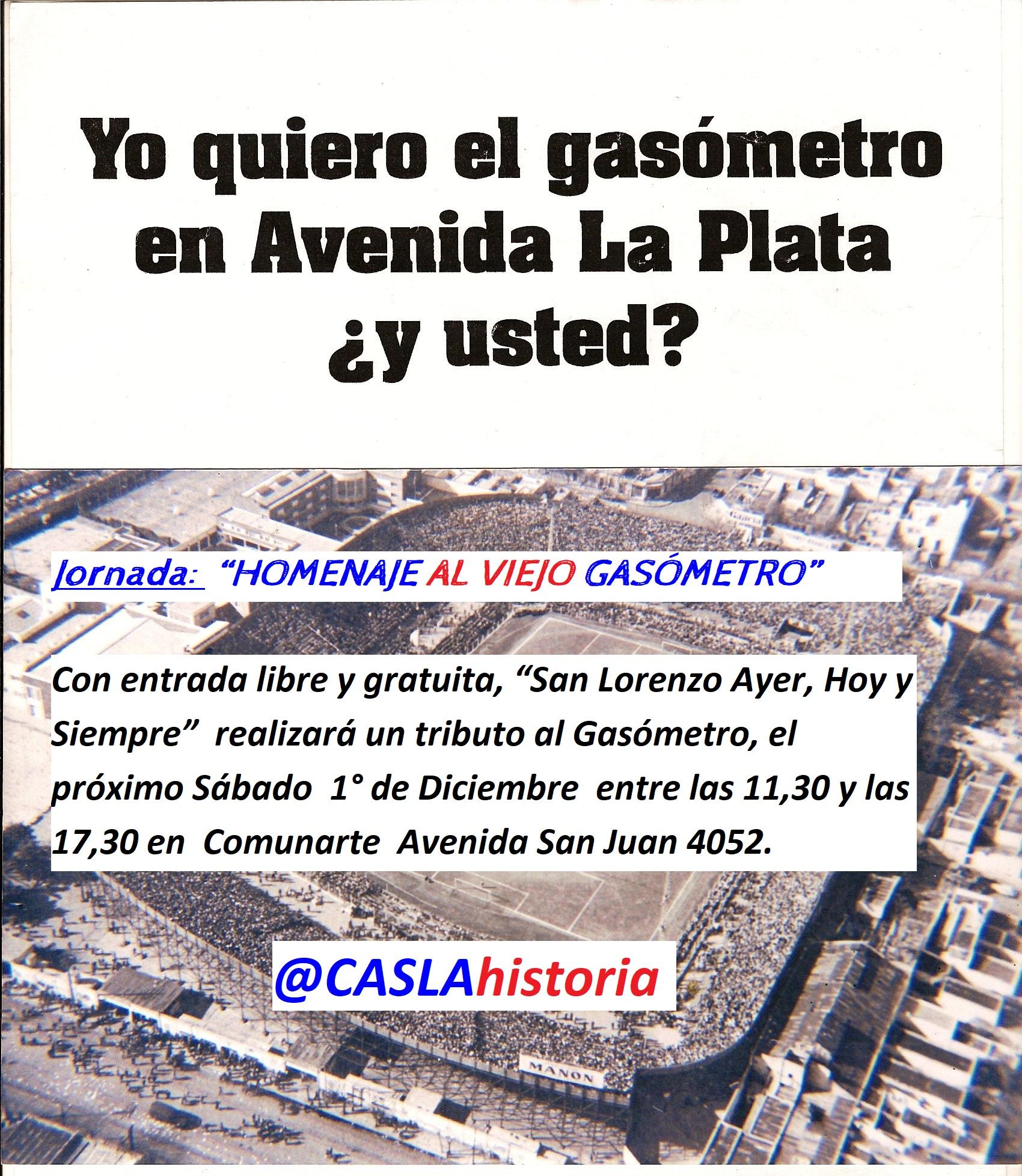 """JORNADA: """"HOMENAJE AL VIEJO GASÓMETRO""""!!"""