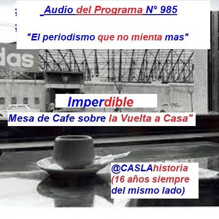 Audio del Programa N° 985. » El Periodismo que no mienta mas».Imperdible mesa de cafe.