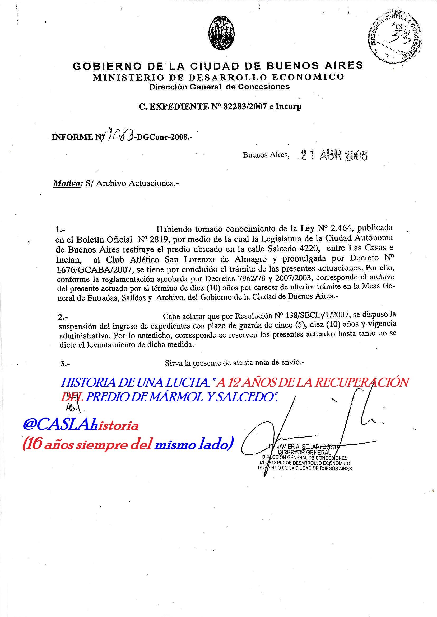 HISTORIA DE UNA LUCHA.»A 12 AÑOS DE LA RECUPERACIÓN DEL PREDIO DE MÁRMOL Y SALCEDO».