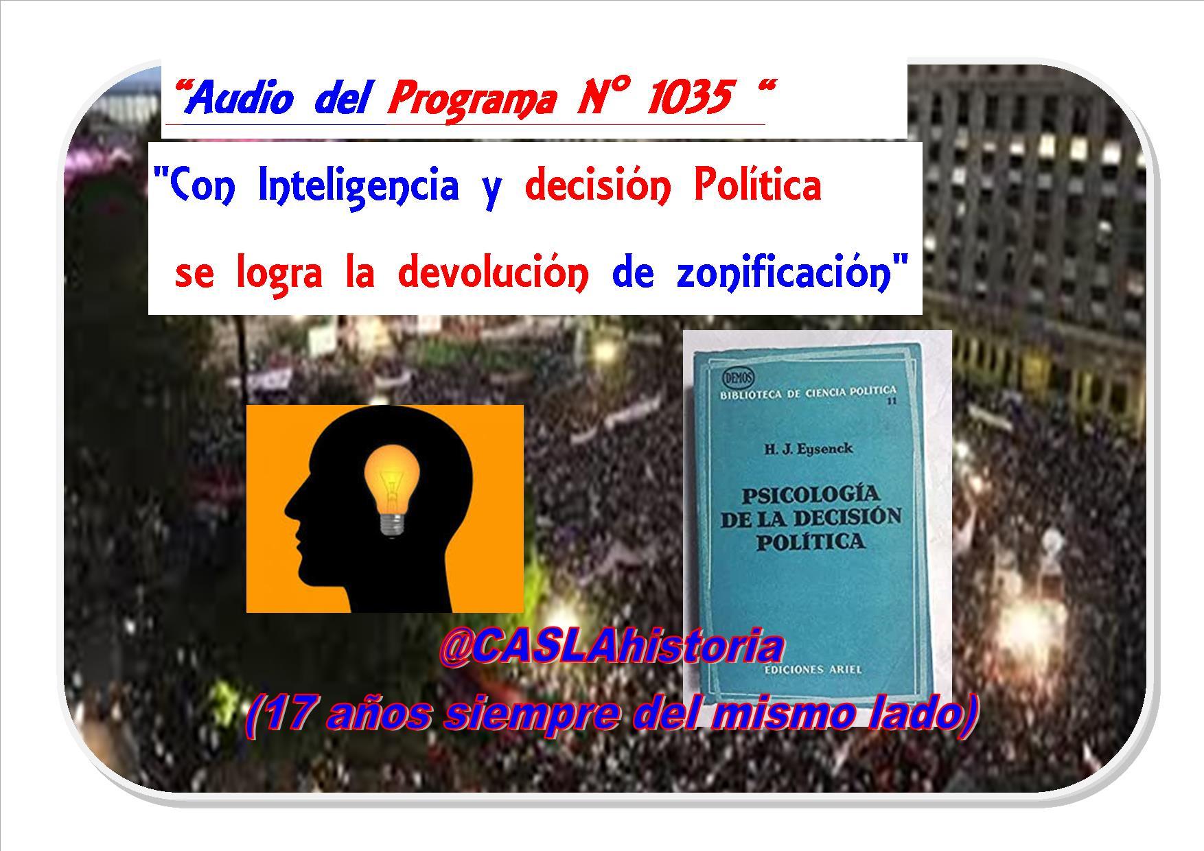 Audio del Programa N° 1035.»Con Inteligencia y decisión Politica se logra la devolución de zonificación»