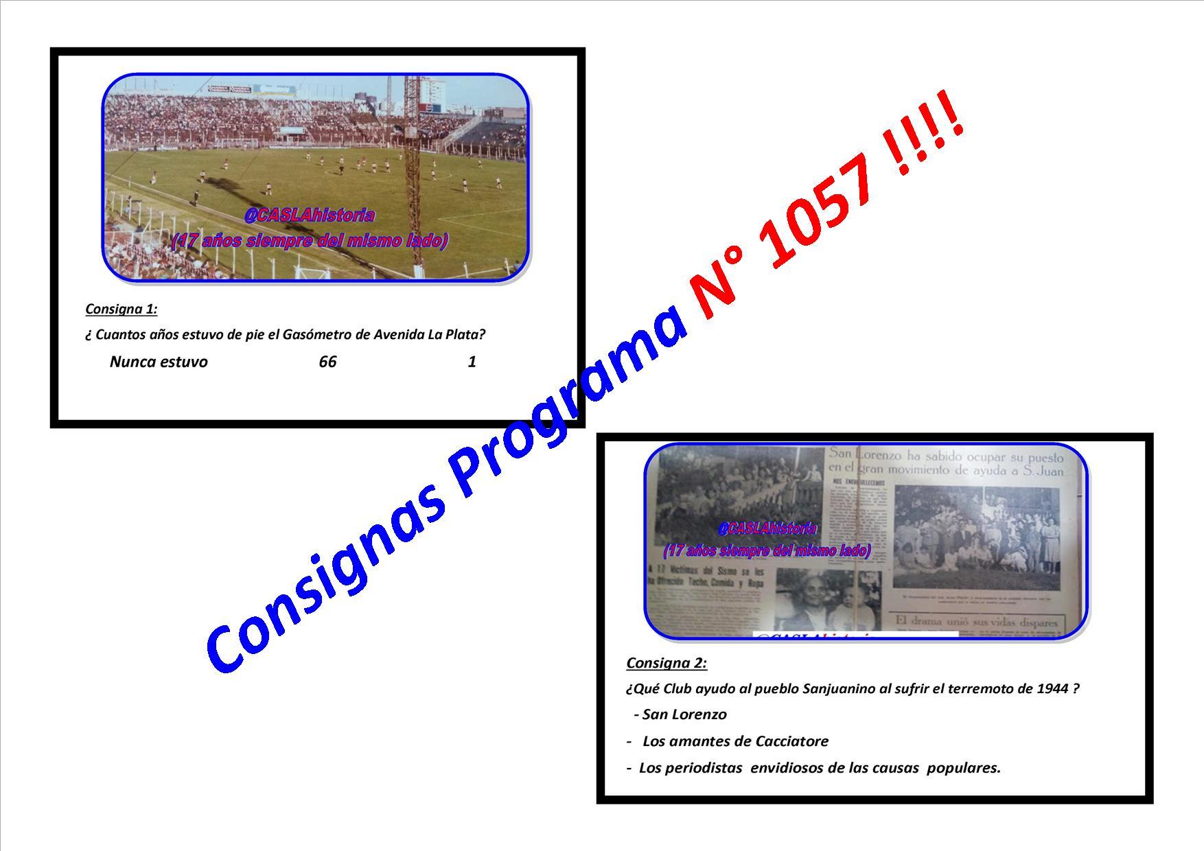 Consignas Programa N° 1057 !!!!!!