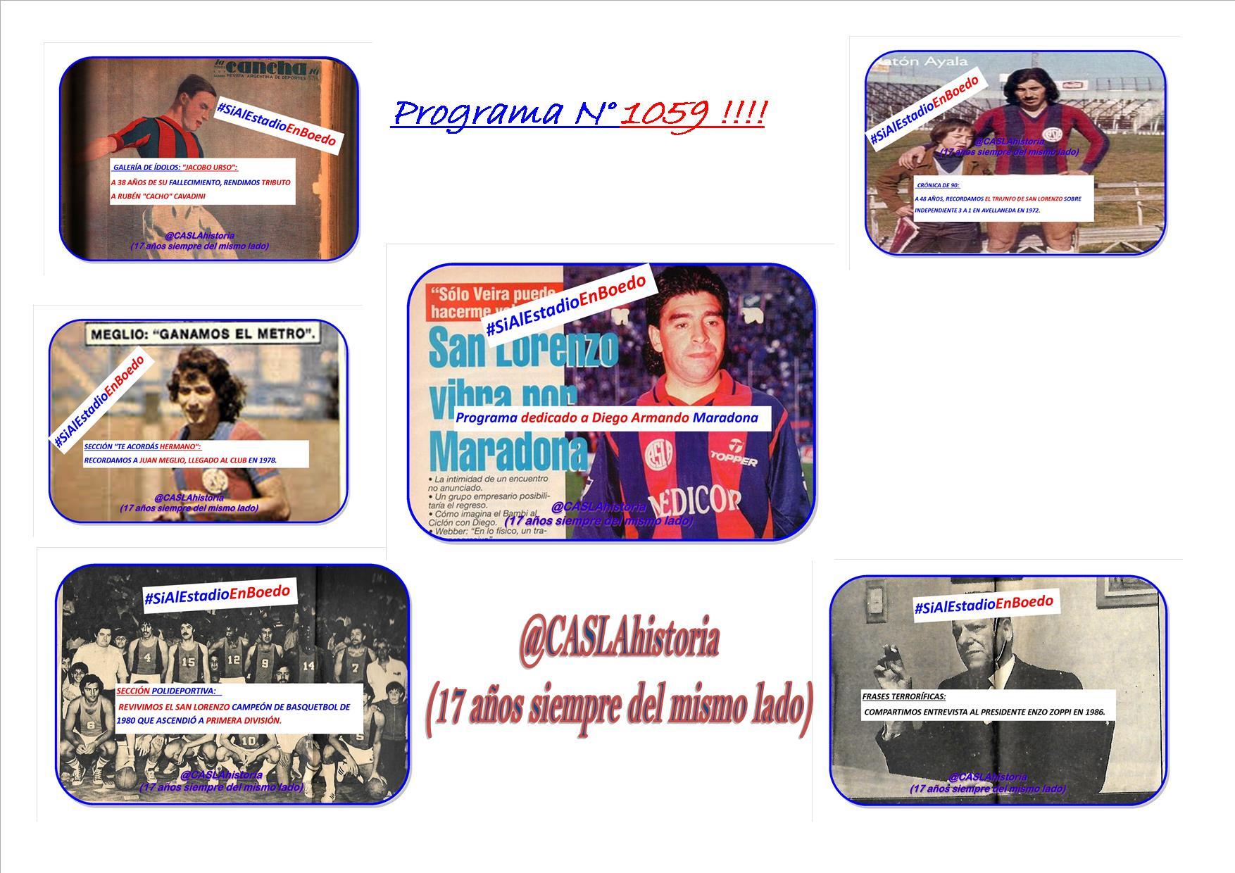 Programa N° 1059 !! » Dedicado a Diego Maradona,Victoria en Avellaneda,Cacho, Zoppi,Meglio,Ascenso Basquet»