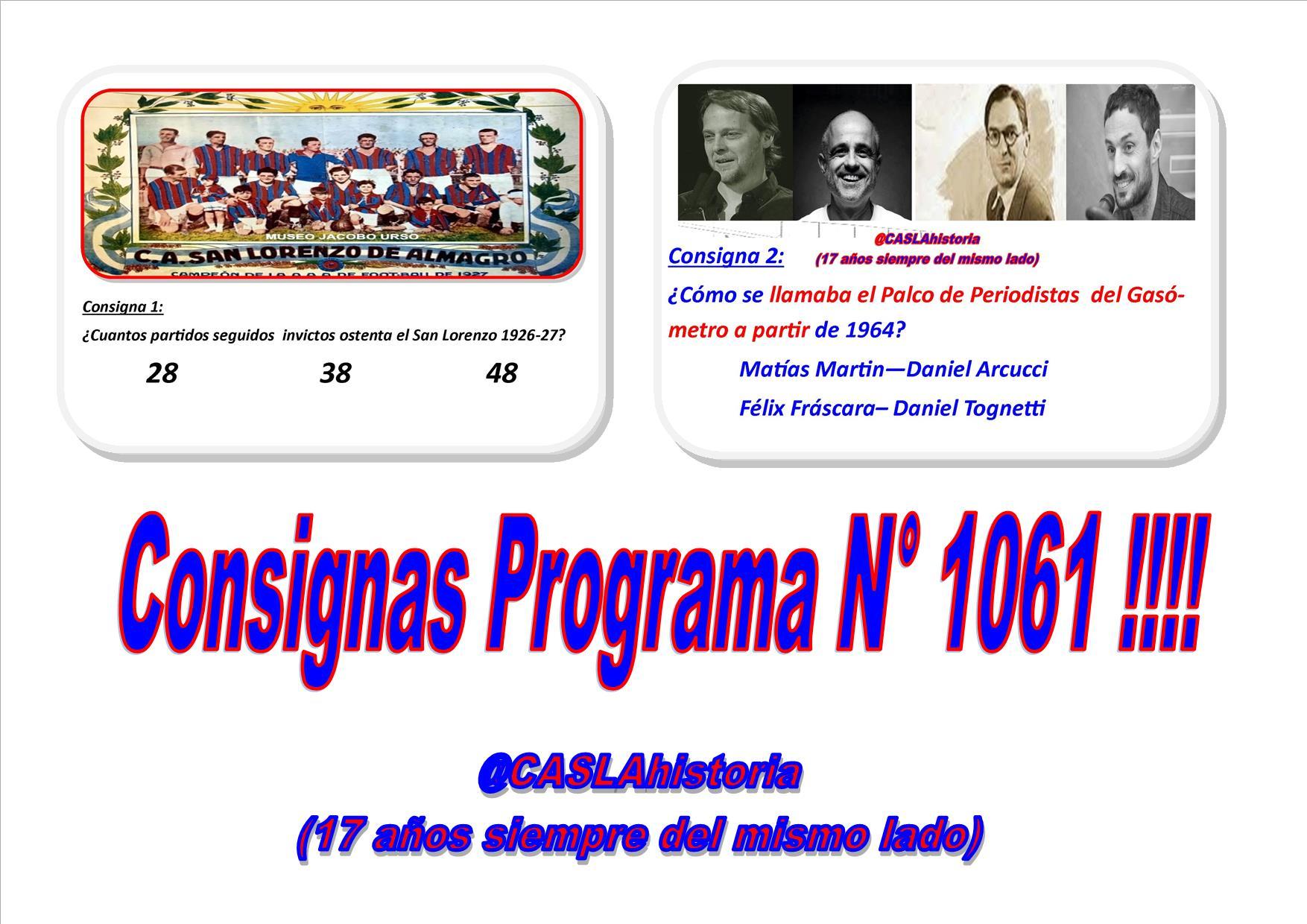 Consignas Programa N° 1061 !!!!!