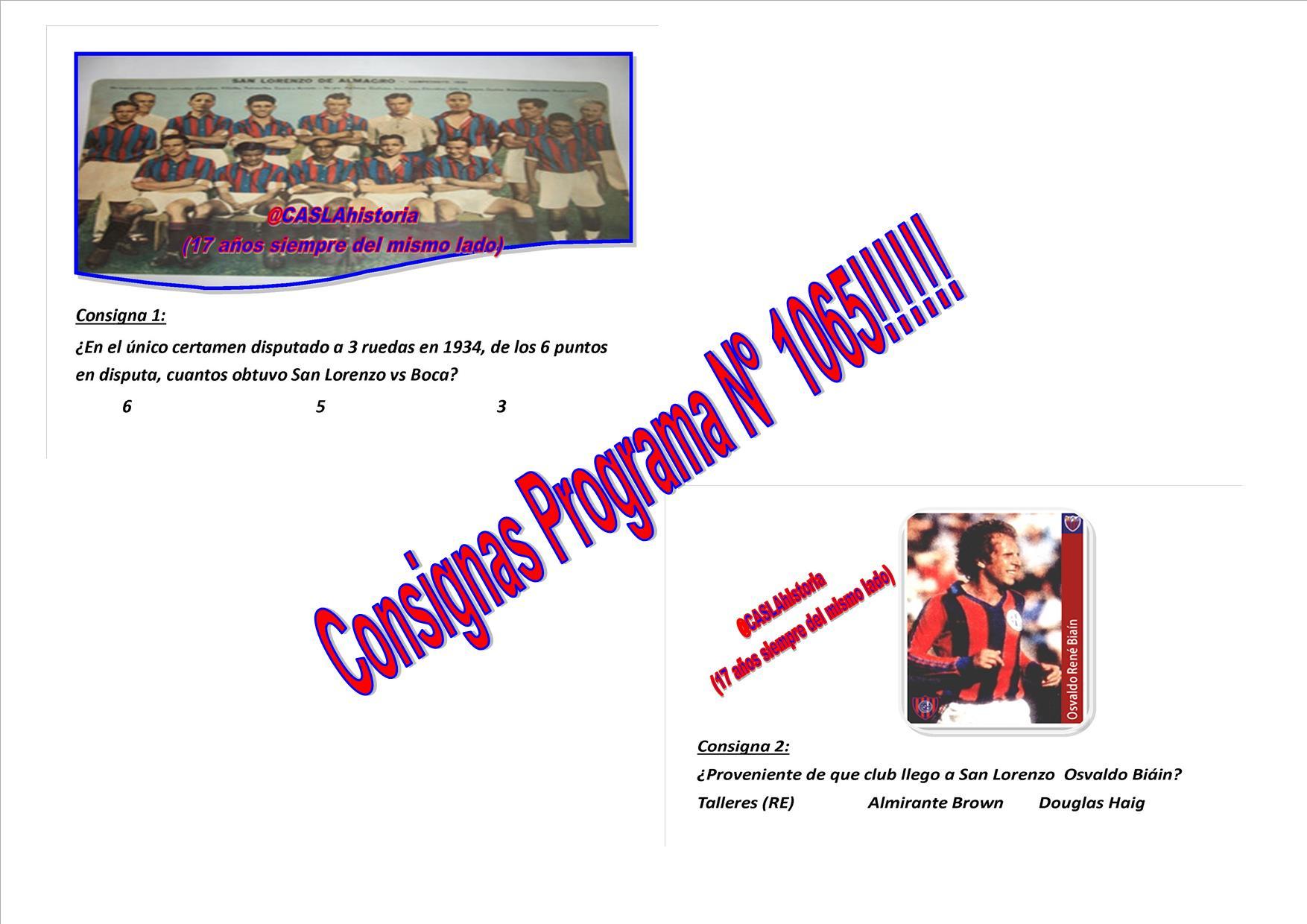 Consignas Programa N° 1065!!!!!