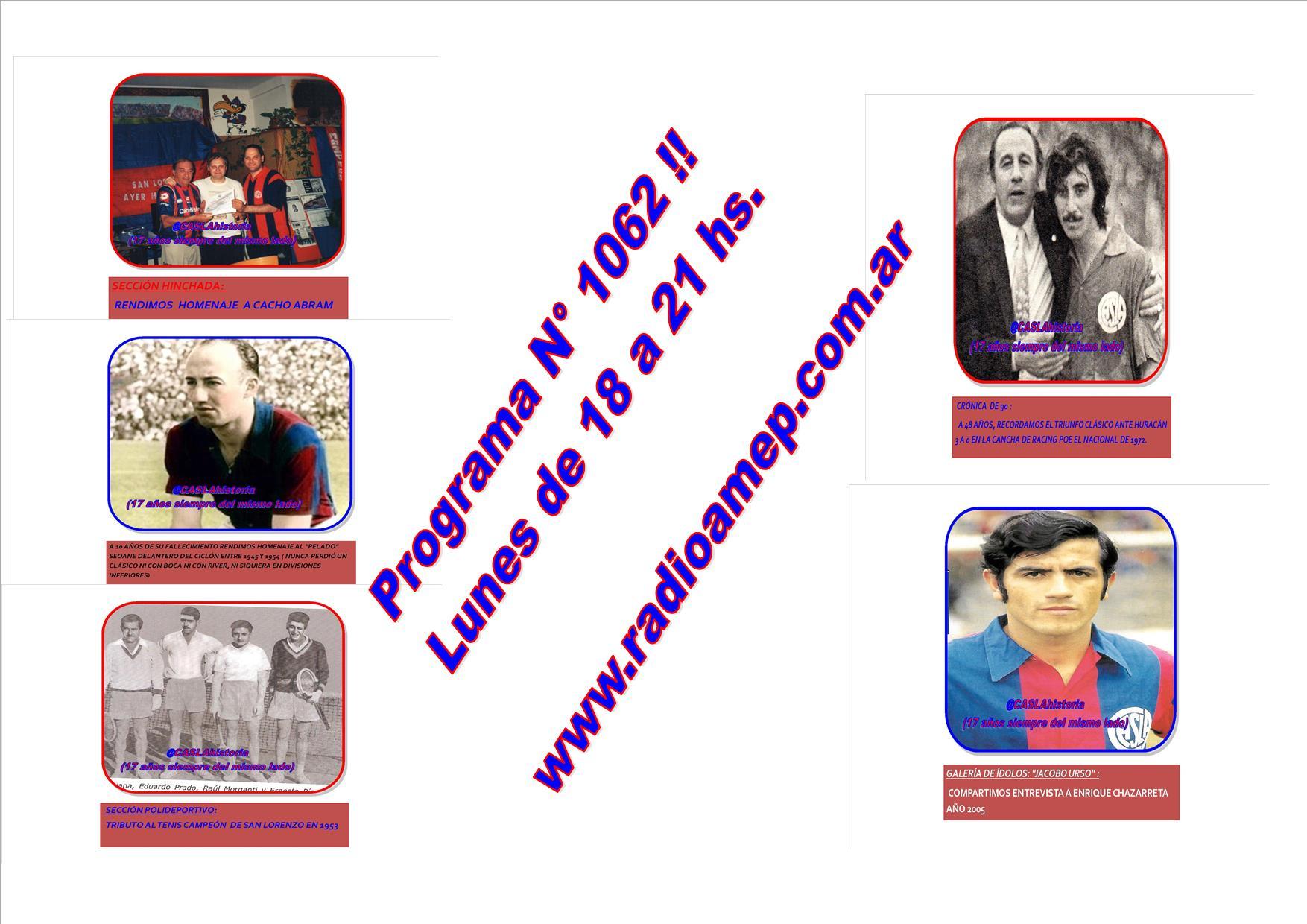 Programa N° 1062 !!  Lunes de 18 a 21 hs por www.radioamep.com.ar