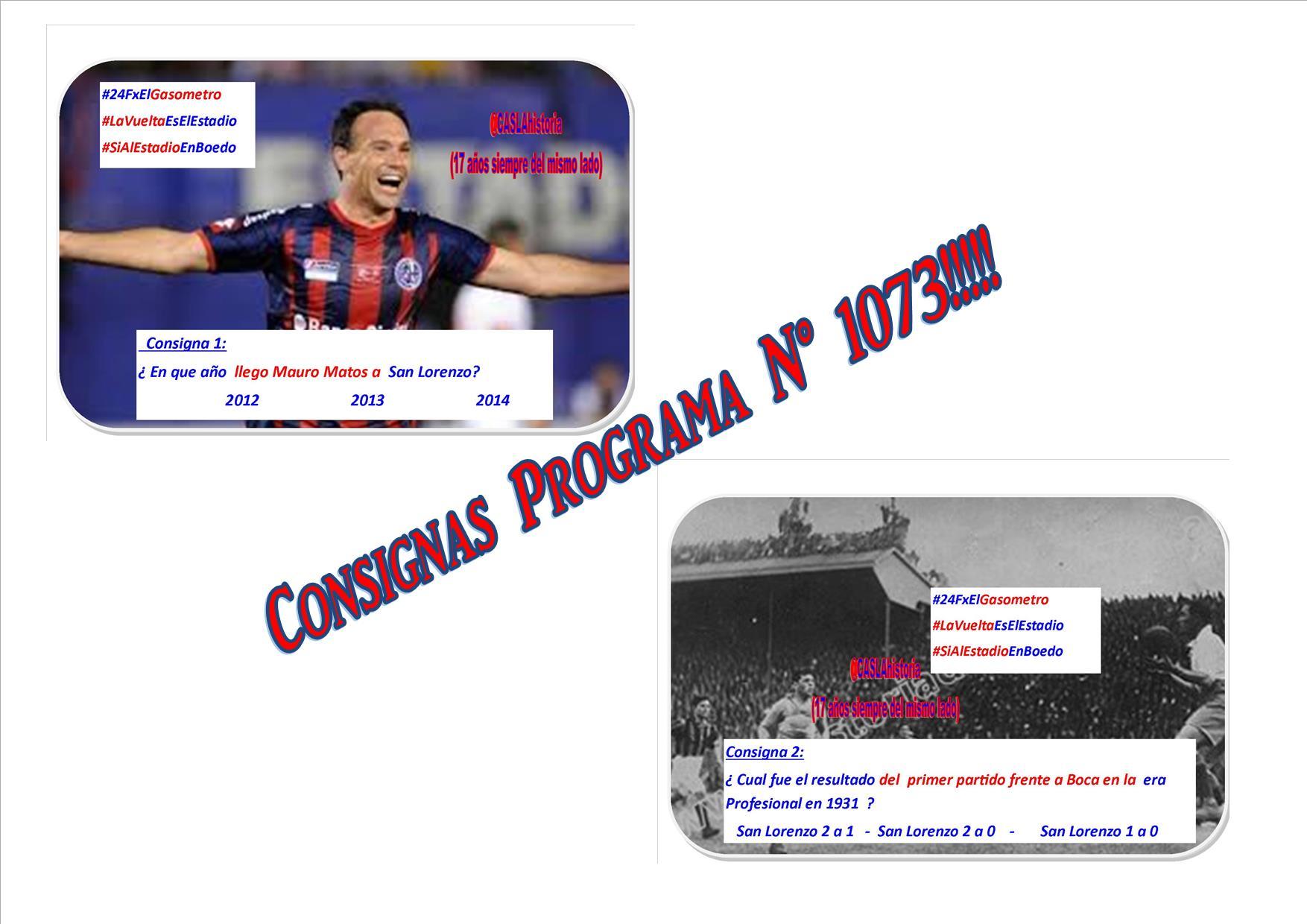 Consignas Programa N° 1073 !!!!!