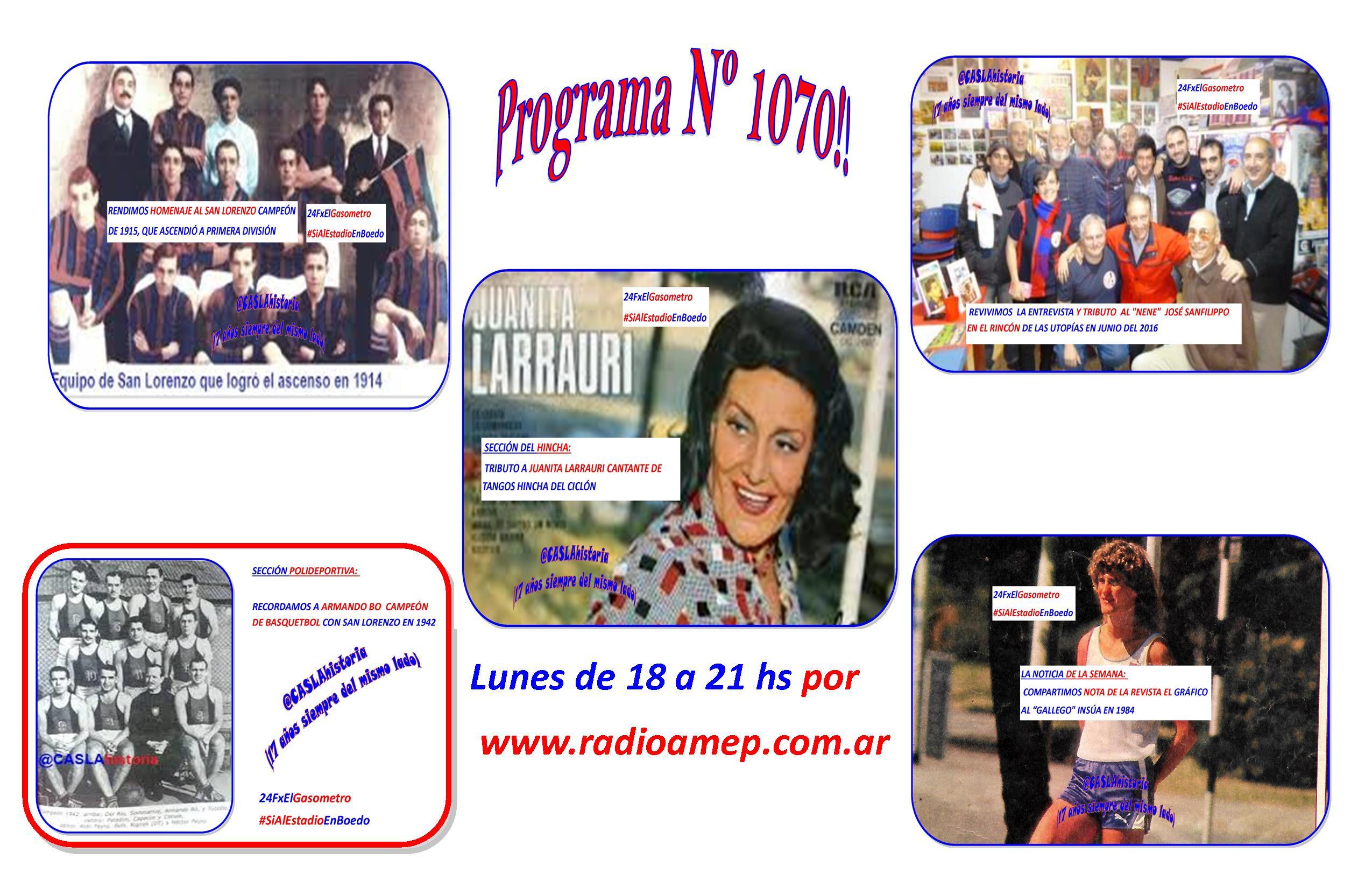 Programa Nº 1070 de Lunes de 18 a 21 hs por www.radioamep.com.ar !!!!