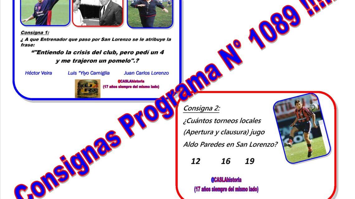 Consignas Programa N° 1089!!!!