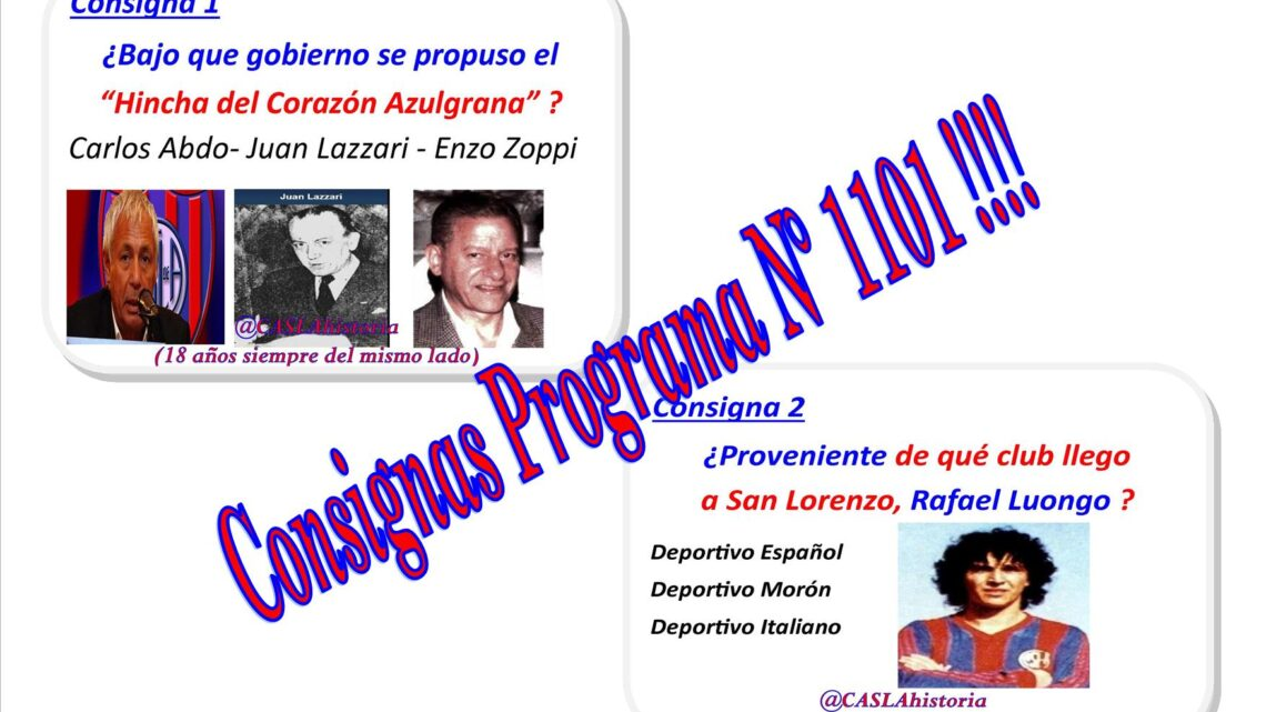 Consignas Programa N° 1101!!!!