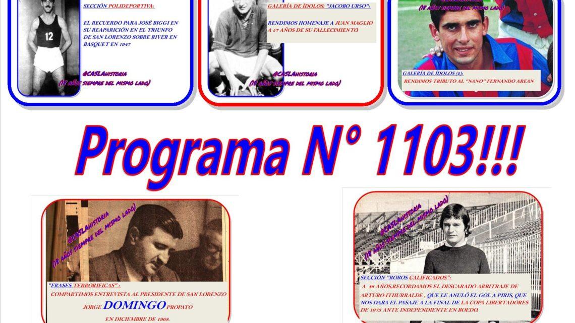 Programa N° 1103.»Juan Maglio, Propato, El Robo de Ithurralde, Arean y Biggi»