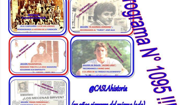 Programa N° 1095. «113 años del Club, Mirko por siempre,Mecenas, Alul y Bartoletti»