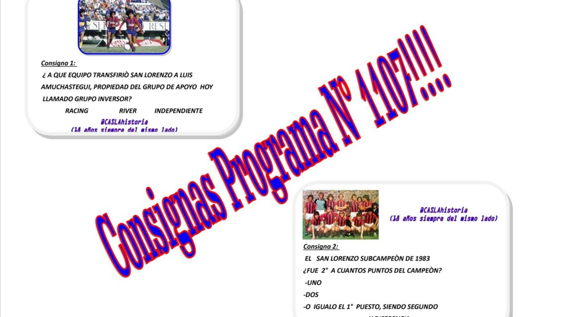 Consignas Programa N° 1107 !!!!