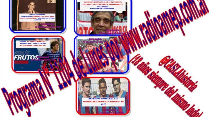 Programa N° 1104 de Lunes 18 a 21 hs por www.radioamep.com.ar