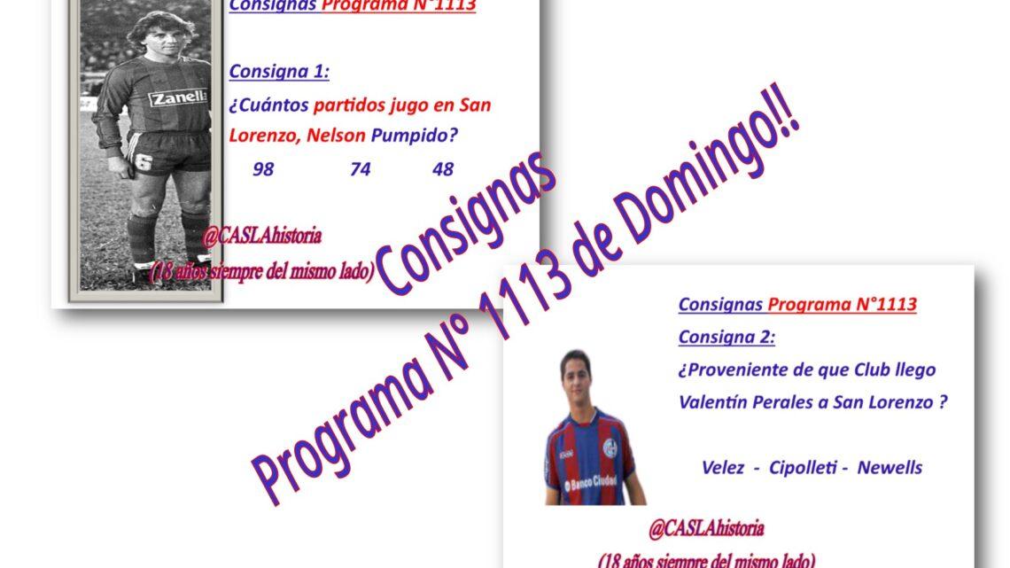 Consignas Programa N° 1113 de domingo!!!!
